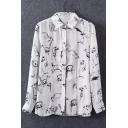 Animal Print Graffiti Button Down Split Side Shirt