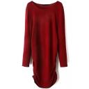 Plain Scoop Neck Folded Hem Mini Knit Dress