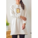 Bread Print Long Sleeve Hooded Tunic Velvet Plus Sweatshirt