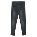 Black Washed Old Stretch Tapered Zipper Fly Jeans