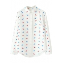 Colored Little Bird Print Button Down Long Sleeve Shirt