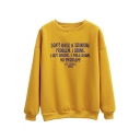 Eyelet Detail Letter Print Round Neck Fleece Sweatshirt