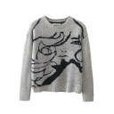 Round Neck Beautiful Girl Jacquard Long Sleeve Sweater