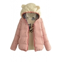 Wool Hooded Patchwork Cute Cartoon Embroidery Padded Coat
