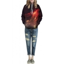Red Galaxy 3D Print Hooded Loose Long Sleeve Sweatshirt
