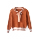 Bow Tie Neck Stripe Trims Long Sleeve Pullover Sweater