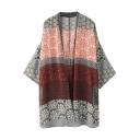 Vintage Floral Print Color Block Batwing Sleeve Long Kimono