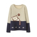 Cute Cat Embroidery Color Block Fleece Sweatshirt