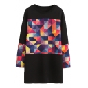 Colorful Geometric Print Color Block Tunic Sweatshirt