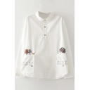 Lapel Cartoon Embroidery White Long Sleeve Double Pockets Blouse