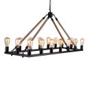 Matte Black 1 Tier 16  Light Natural Rope LED Chandelier