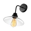 Black Industrial 1 Light Glass LED Wall Lamp