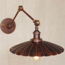 Antique Copper 1 Light LED Wall Sconce with Floral Round Metal Shade