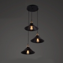 Industrial 3 Light Black LED Multi Light Pendant