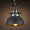 Black Iron 1-Light Indoor LED Pendant with Metal Bowl Shade