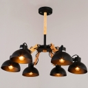 28'' W Industrial Matte Black 5 Light LED Chandelier with Spun Wood Accents