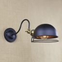 Wrought Iron 1 Light Adjustable LED Wall Lamp in Satin Black