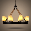 Industrial Dining Room 8 Light Large Rope LED Chandelier in Black Finish with Cylinder Amber Frosted Glass Shade