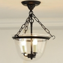 3 Light LED Semi Flush Mount with Clear Glass