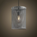 Mottled Iron Cylinder Metal Mesh 1 Light Foyer LED Pendant