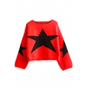 Round Neck Star Jacquard Color Block Cropped Sweater