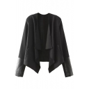 Plain Waterfall Lapel PU Patchwork Asymmetrical Hem Coat