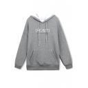 Hooded Letter Print Drawstring Detail Sweatshirt