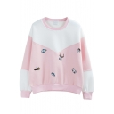 Christmas Cartoon Embroidery Color Block Sweatshirt