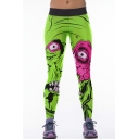 Green Horror Monster Print Elastic Waist Yoga Leggings