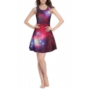 Red Galaxy Print A-Line Mini Round Neck Slim Dress