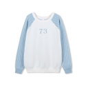 Number Print Raglan Sleeve Color Block Stripes Sweatshirt