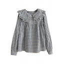 Ruffle Doll Collar Plaid Button Detail Loose Blouse