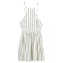 Straps Vertical Stripes A-Line Backless Mini Dress