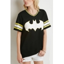 Batman & Number Print Stripe Trims V-Neck Long Tee
