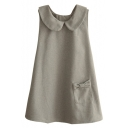 Doll Collar Plain Sleeveless Bow Detail Pockets Button Back Dress