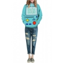 Game Machine Print Hooded Pockets Long Sleeve Green Sweatshirt
