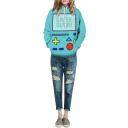Game Machine Print Hooded Pockets Long Sleeve Green Sweatshirt