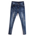 Zipper Fly Washed Old Ripped Skinny Cropped Jeans