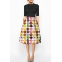 Colorful Donuts Print High Waist Midi A-Line Skirt