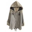 Floral Print Hooded Lace Patchwork Single Breasted Coat