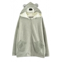 Loose Cartoon Bear Hooded Zipper Letter Patterned Coat