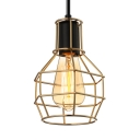 Retro Gold LED Pendant Light with Cage Shade