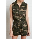 Lapel Zipper Double Pockets Sleeveless Camouflage Romper