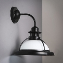 Satin Black Single Light White Glass Barn/Warehouse LED Wall Sconce with Open Cage