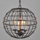 Industrial Rust LED Chandelier with Globe Shade, 4 Light Light