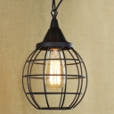 Small Round Satin Black 1-Light LED Mini Pendant Lighting