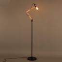 Simple Spun Wood Living Room Adjustable LED Floor Lamp in Black Finish