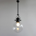 Matte Black Ball Pendant Lamp with Closed Glass Shade Vintage Concise 1 Light Suspension