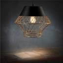 Retro Style 1 Light Metal Mesh LED Pendant in Black