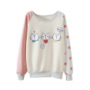 Cartoon Cat Print Polka Dot Color Block Raglan Sleeve Sweatshirt